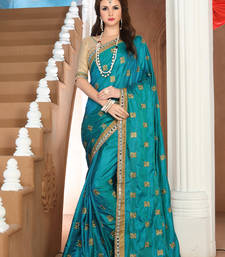 Buy Green embroidered silk saree with blouse party-wear-saree online