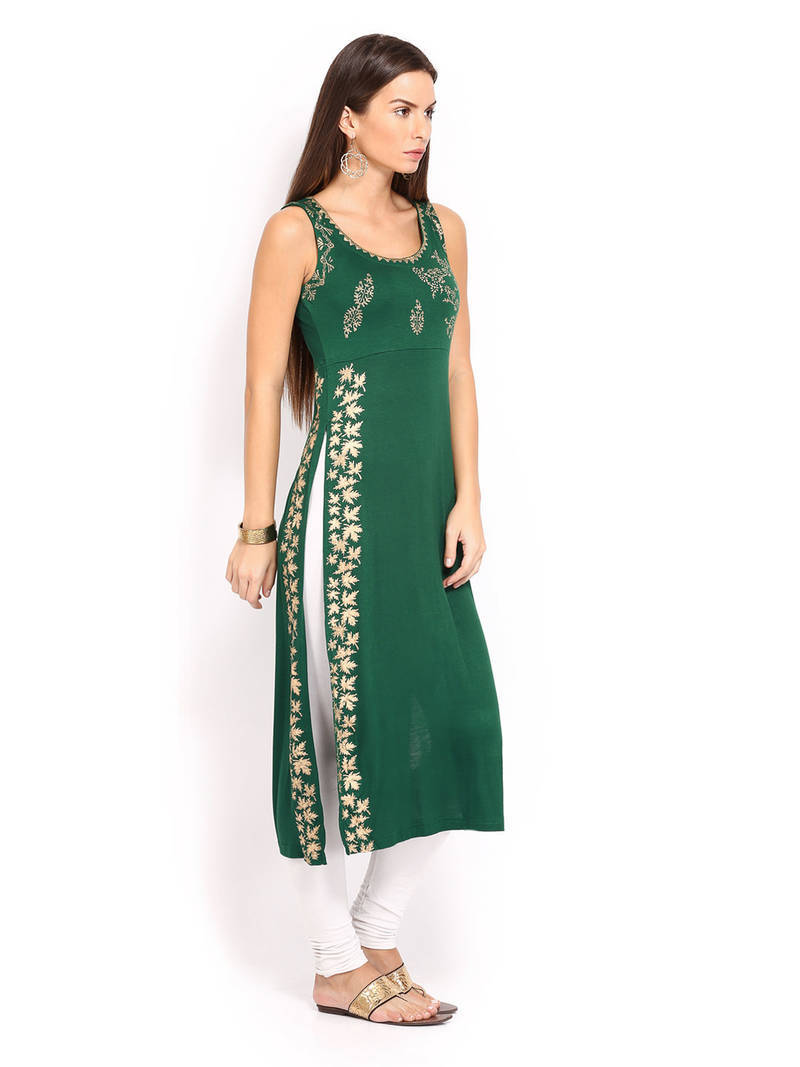 Buy Kukn114 IraSoleil Viscose Green Long Slit Kurti Online