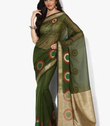 Buy Green woven banarasi saree with blouse banarasi-saree online