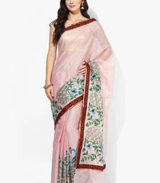 Buy Peach woven banarasi saree with blouse banarasi-saree online