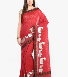Buy Red woven banarasi saree with blouse banarasi-saree online