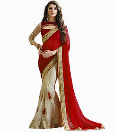 Buy Maroon embroidered net saree with blouse great-indian-saree-festival online