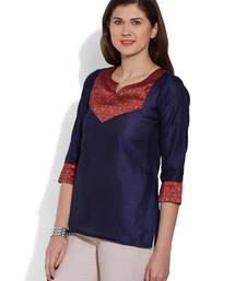Buy Blue plain dupion_silk stitched kurti short-kurtis online
