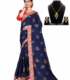 Buy Blue embroidered chiffon saree with blouse & free gift bridal-saree online