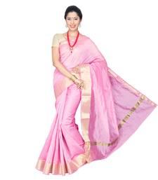 Buy Pink plain cotton silk saree  Saree online