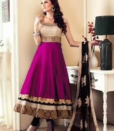 Buy Dark pink embroidered satin salwar with dupatta anarkali-salwar-kameez online