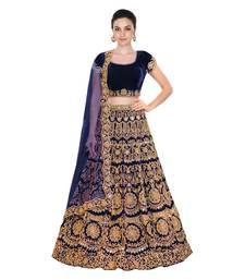 Buy  Navy Blue real mirror work & embroidery semi sttiched lehenga choli material with matching net dupatta lehenga-choli online