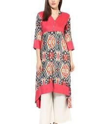 Buy multicolor printed rayon stitched kurti kurtas-and-kurtis online