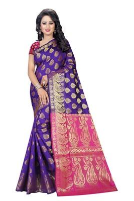 Purple printed banarasi silk saree with blouse
