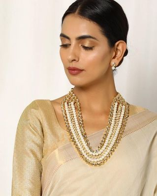 Kundan and Pearls Multistrand Necklace with matching studs