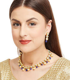 Buy Kundan string necklace set embellished with blue onyx stones and shell pearls necklace-set online