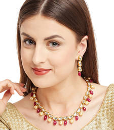 Buy Uncut kundan string necklace set embellished with red onyx stones and shell pearls necklace-set online