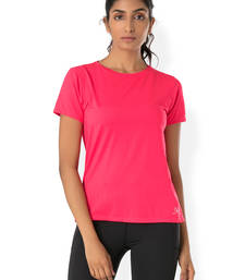 Buy Pink workout gym wear Crew Neck Tee workout-gym-wear online