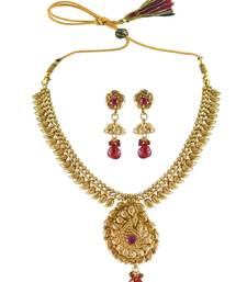 Buy Gorgeous Red CZ Necklace Set For Girl necklace-set online