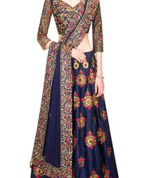 Buy Blue embroidered dupion silk unstitched lehenga with dupatta lehenga-below-2000 online