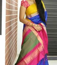 Buy Multicolor printed silk saree with blouse bridal-saree online
