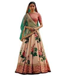 Buy Peach printed art silk semi stitched lehenga with dupatta lehenga-choli online