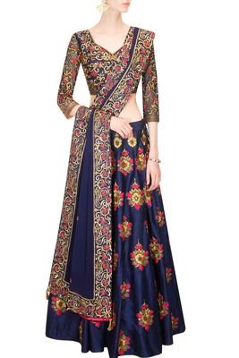 Blue embroidered dupion silk unstitched lehenga with dupatta