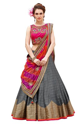Grey embroidered dupion silk unstitched lehenga with dupatta