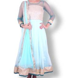 Buy Sea green long net anarkali with golden threadwork intricate bodice - Sweta Sutariya anarkali-salwar-kameez online
