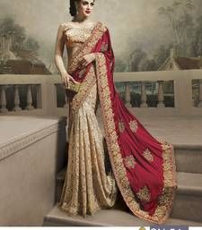 Buy Beige embroidered georgette saree with blouse satin-saree online