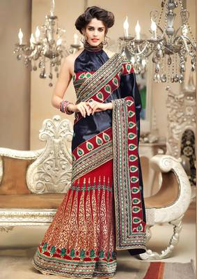 Elegant Multi ColoRed Suede+Chiffon Embroidered Sari