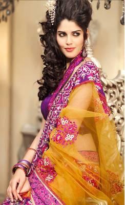 Gorgeous Pink And Yellow Resham Work Sari