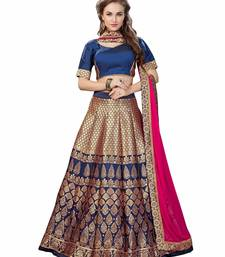 Buy Navy blue woven jacquard unstitched lehenga with dupatta lehenga-below-3000 online