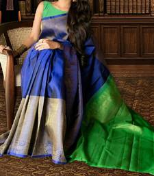 Buy blue printed silk designer silk-sarees with blouse kerala-saree online
