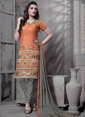 Riti Riwaz orange chanderi dress material with dupatta