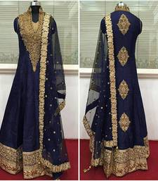 Buy Navy blue embroidered Cotton silk Anarkali semi stitched salwar suits with dupatta party-wear-salwar-kameez online