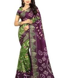Buy Violet hand woven art silk saree with blouse bandhani-sarees-bandhej online