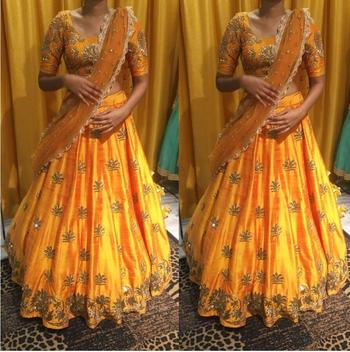 Yellow embroidered silk unstitched lenga with dupatta