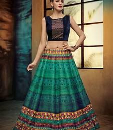 Buy Green printed silk unstitched lehenga with dupatta lehenga online