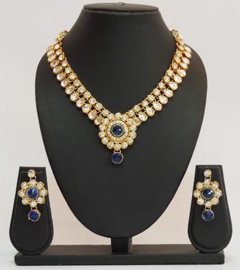 Blue Gold Kundan Floral Necklace Set