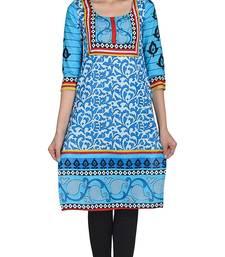 Buy Turquoise printed cotton unstitched kurtas-and-kurtis kurtis-below-500 online