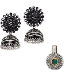Buy Best Selling Oxidized Earrings And Oxidized Silver Plated Nose Pin | Jaipuri Brass Combo Gift For Girls, Ladies, Women jewellery-combo online