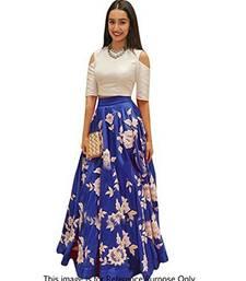 Buy Blue embroidered dupion silk unstitched lehenga with dupatta lehenga online