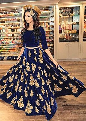 Blue embroidered silk unstitched lehenga with dupatta