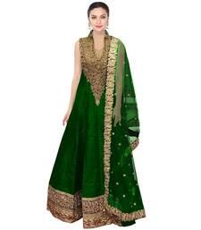 Buy Green thread embroidery cotton silk anarkali suits pakistani-salwar-kameez online
