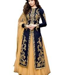 Buy Blue resham embroidery cotton silk anarkali suits anarkali-salwar-kameez online