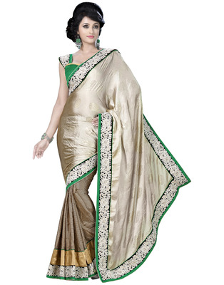 Cream Embroidered Pure Chiffon Saree With  Blouse