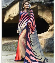 Buy multicolor printed georgette saree with blouse designer-embroidered-saree online