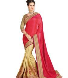Buy Peach embroidered brocade saree with blouse brocade-saree online