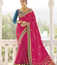 Buy Magenta embroidered silk saree with blouse designer-embroidered-saree online