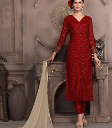 Buy Red embroidered georgette salwar with dupatta anarkali-salwar-kameez online