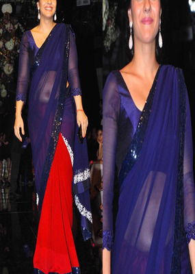 Blue and Red with Embroidery sequence Border work Kajol Georgette saree