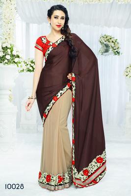 Brown&Cream  coloured Designer  chiffon  Saree with blouse piece