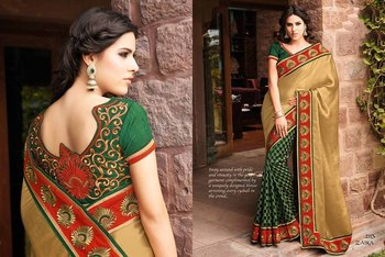 Styloce Beig,Green Silk,Viscose Embroidery Saree-STY-2113
