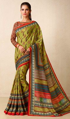 Olive printed tussar silk saree with blouse